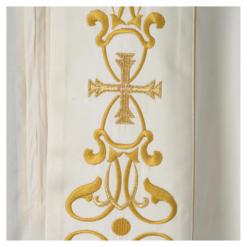 Cope with IHS embroidery and golden decoration on gallon, ivory 2