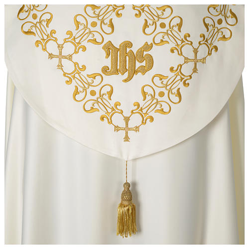 Cope with IHS embroidery and golden decoration on gallon, ivory 5