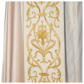 Cope with IHS embroidery and velvet effect on gallon, ivory s2