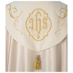 Cope with IHS embroidery and velvet effect on gallon, ivory s6