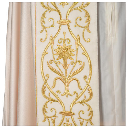 Cope with IHS embroidery and velvet effect on gallon, ivory 2
