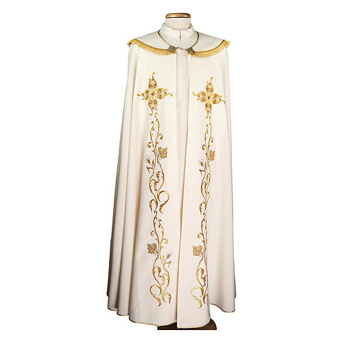 Liturgical cope 100% polyester with cross and grapes embroidery 1