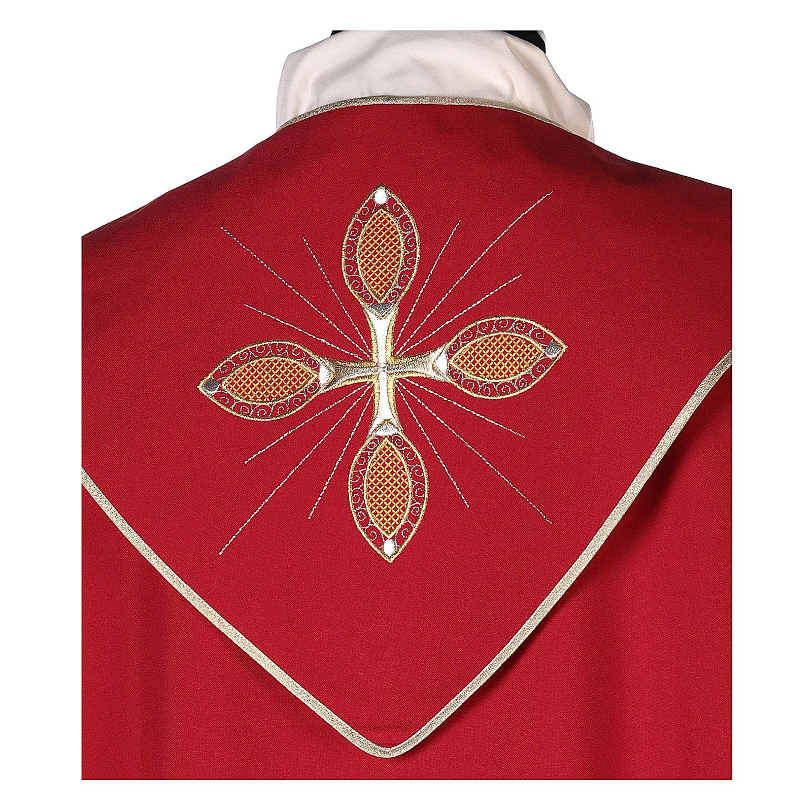 Chape 100% polyester brodée machine croix et riches motifs décoratifs 4