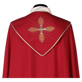 Chape 100% polyester brodée machine croix et riches motifs décoratifs s6