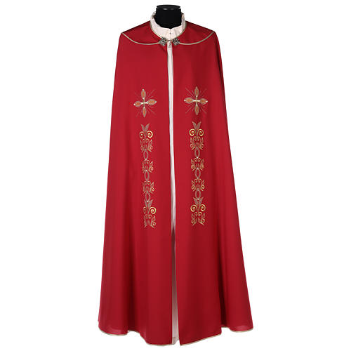 Chape 100% polyester brodée machine croix et riches motifs décoratifs 1