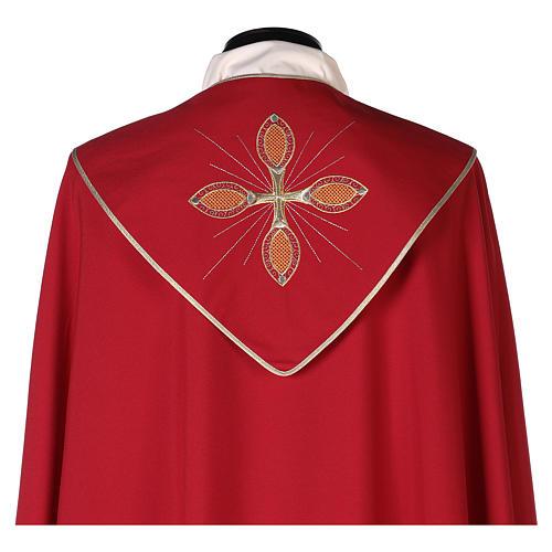 Chape 100% polyester brodée machine croix et riches motifs décoratifs 6
