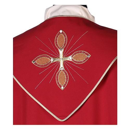 Chape 100% polyester brodée machine croix et riches motifs décoratifs 7