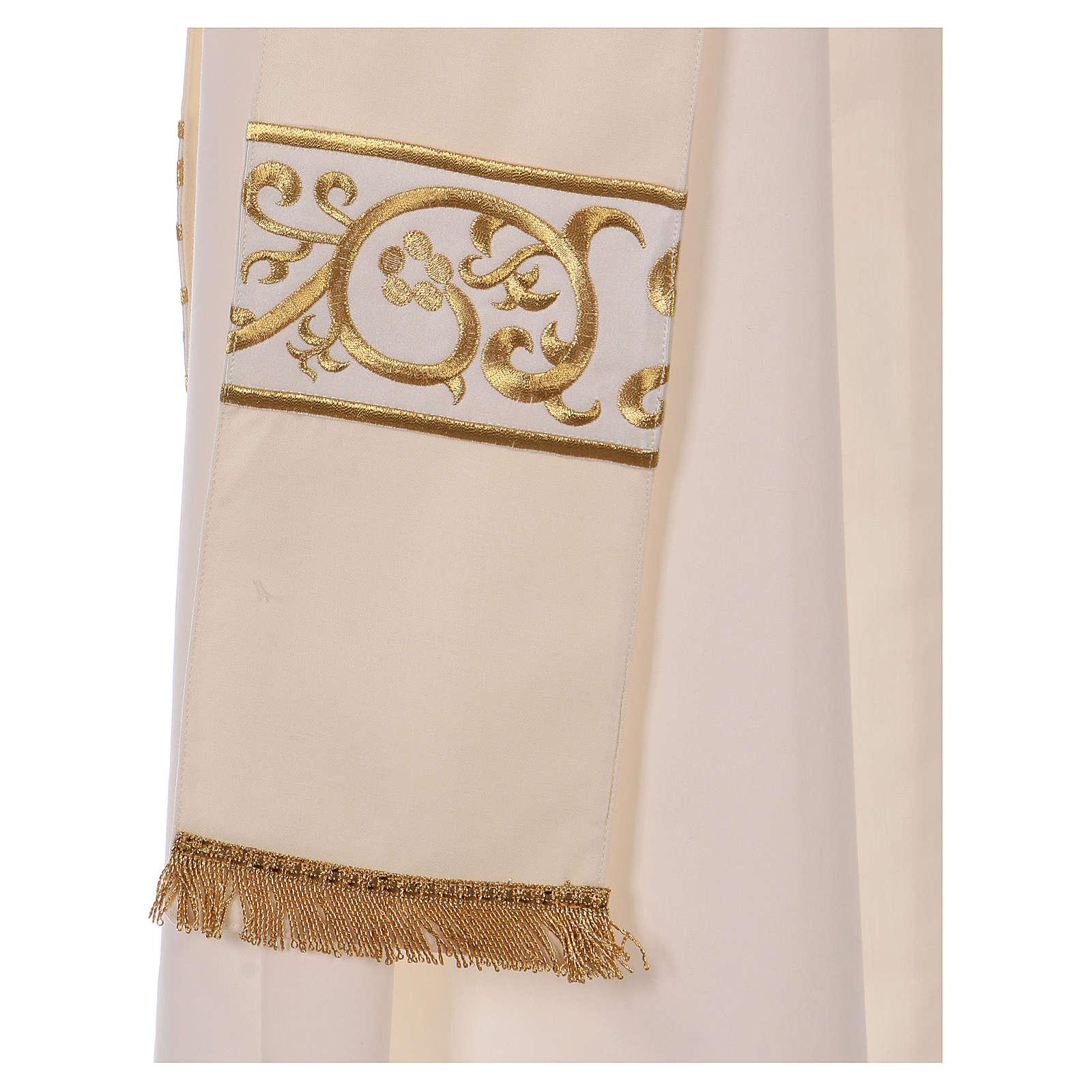 Dalmática bege 100% lã decorada bordado dourado 4