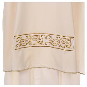 Dalmática bege 100% lã decorada bordado dourado s2