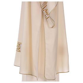 Dalmática bege 100% lã decorada bordado dourado s3