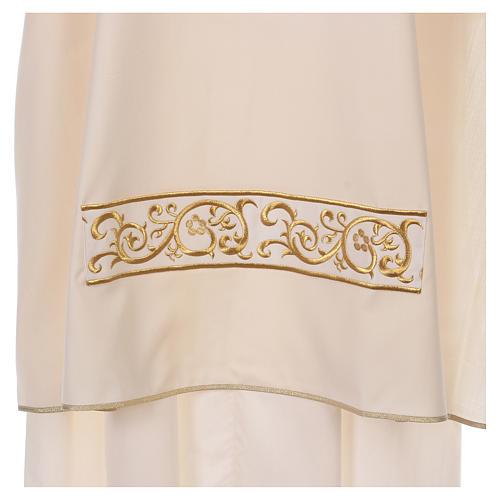 Dalmática bege 100% lã decorada bordado dourado 2