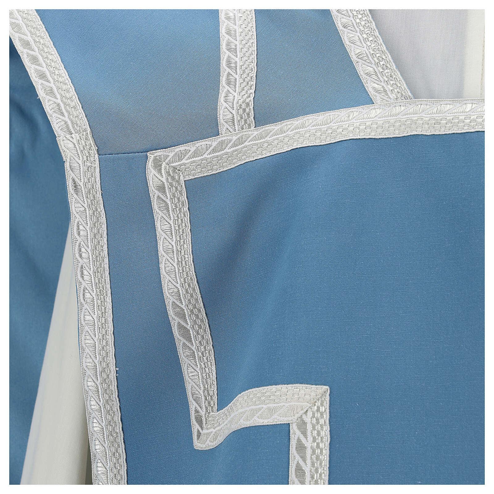 Casulla mariana mixto algodón celeste 4