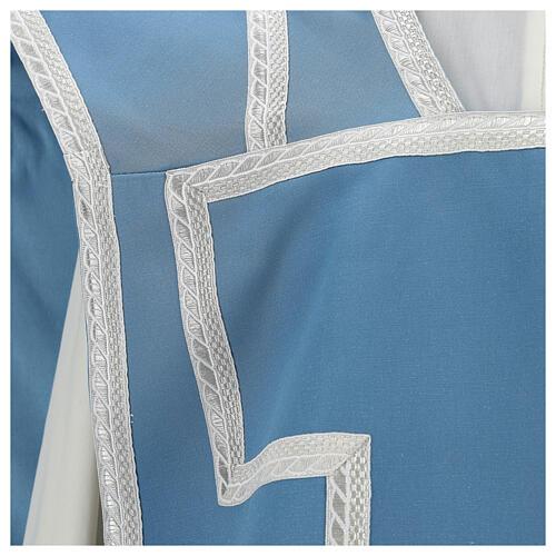 Casulla mariana mixto algodón celeste 2