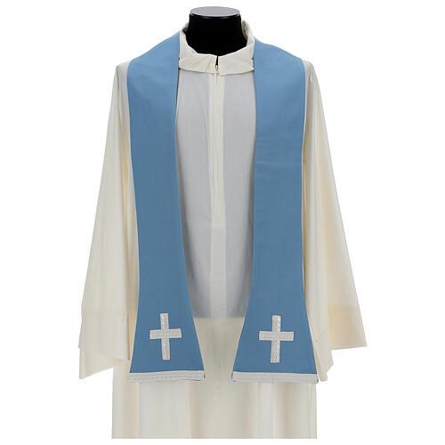Casulla mariana mixto algodón celeste 8