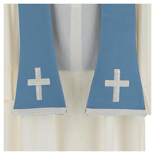 Casulla mariana mixto algodón celeste 9