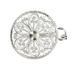 Gancho para capa pluvial con flor de plata 800 s2