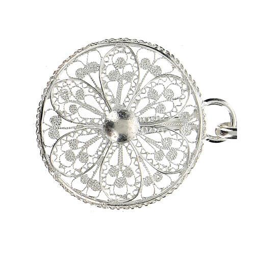 Gancho para capa pluvial con flor de plata 800 2