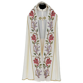 Priest cope in 100% bamboo with ecru floral decorations and fringes Limited Edition s1