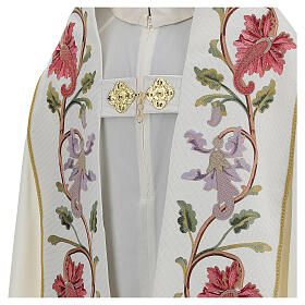 Priest cope in 100% bamboo with ecru floral decorations and fringes Limited Edition s4