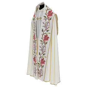 Priest cope in 100% bamboo with ecru floral decorations and fringes Limited Edition s5
