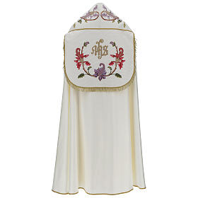 Priest cope in 100% bamboo with ecru floral decorations and fringes Limited Edition s6