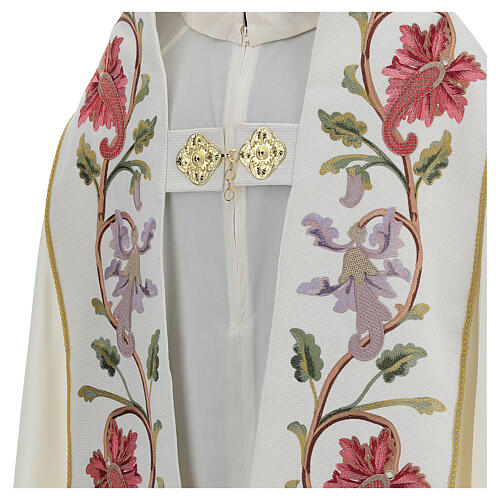 Priest cope in 100% bamboo with ecru floral decorations and fringes Limited Edition 4
