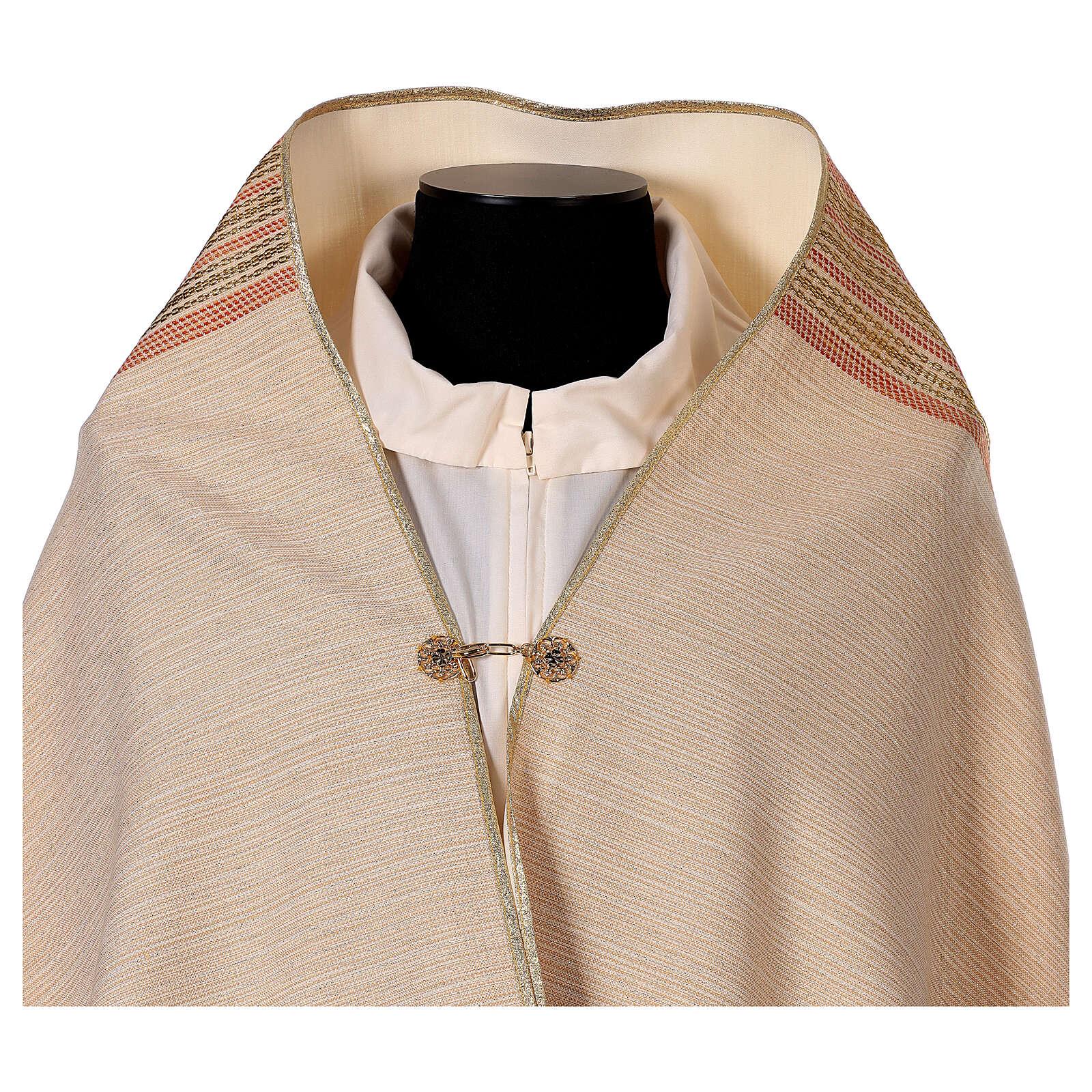 STOCK Velo humeral lana y seda marfil y bordado dorado IHS 4