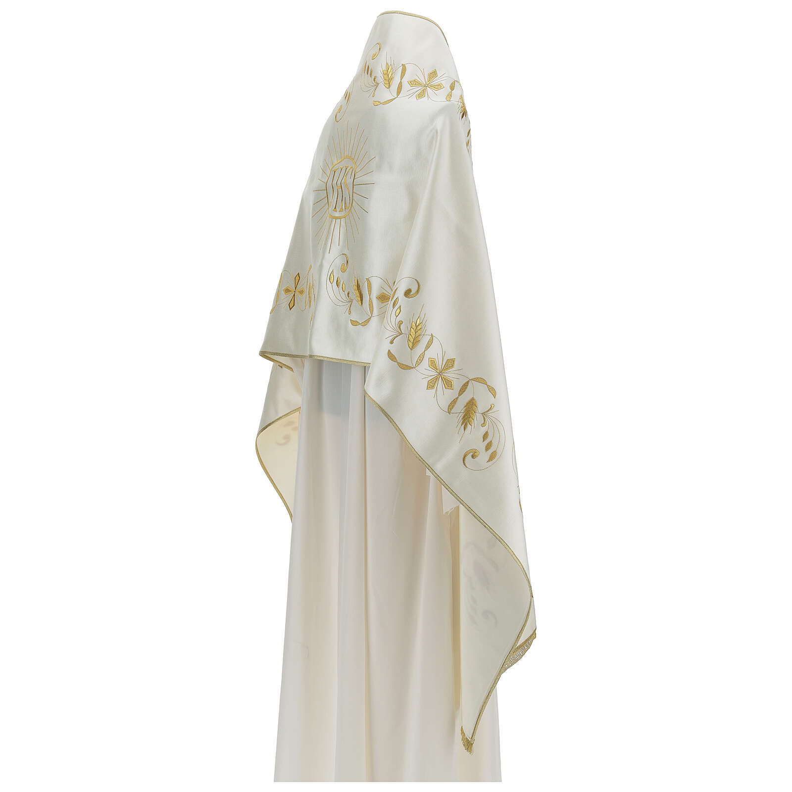 Ivory cotton blend humeral veil with Swarovsk 4