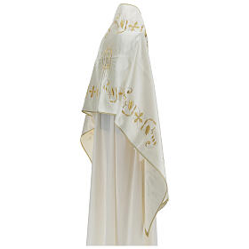 Ivory cotton blend humeral veil with Swarovsk s8
