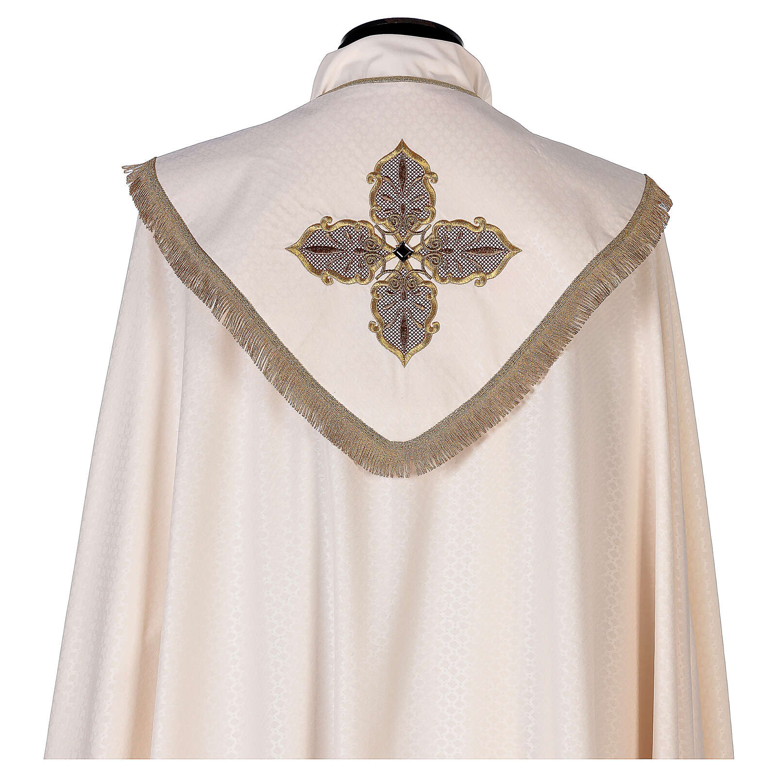 Priest cope textured fabric 100% polyester machine embroidered green stone 4