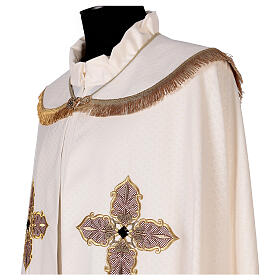 Priest cope textured fabric 100% polyester machine embroidered green stone s3