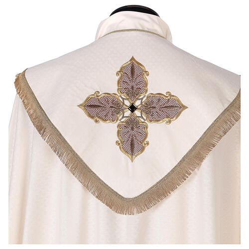 Priest cope textured fabric 100% polyester machine embroidered green stone 2