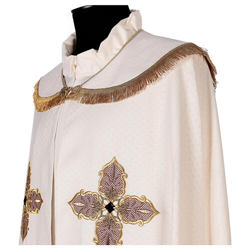 Priest cope textured fabric 100% polyester machine embroidered green stone 3