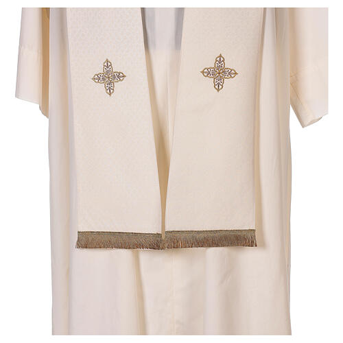 Priest cope textured fabric 100% polyester machine embroidered green stone 12