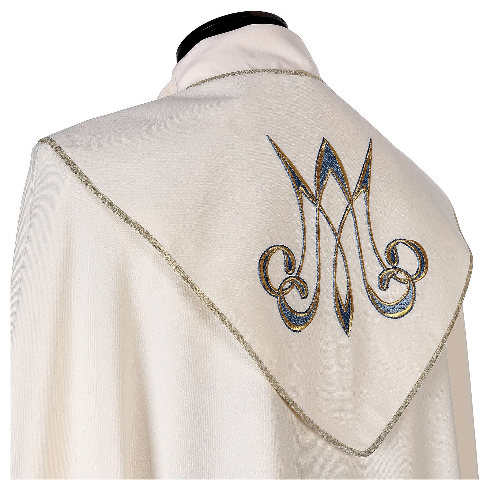 Marian cope 100% polyester machine embroidered lily monogram 4