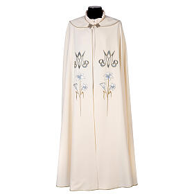 Marian cope 100% polyester machine embroidered lily monogram s1