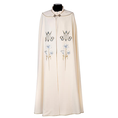 Marian cope 100% polyester machine embroidered lily monogram 1
