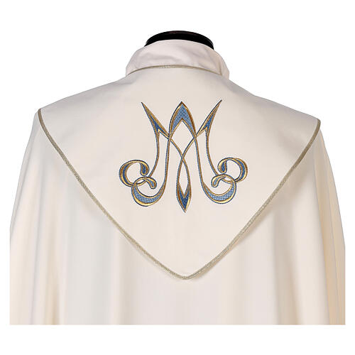 Marian cope 100% polyester machine embroidered lily monogram 2