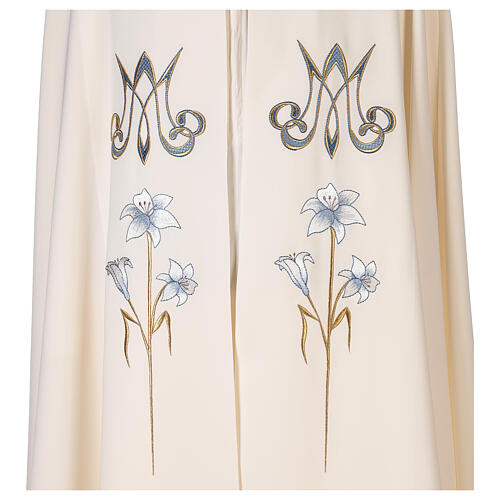 Marian cope 100% polyester machine embroidered lily monogram 3