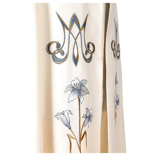 Marian cope 100% polyester machine embroidered lily monogram 6