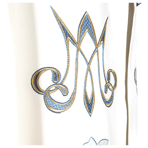 Marian cope 100% polyester machine embroidered lily monogram 8