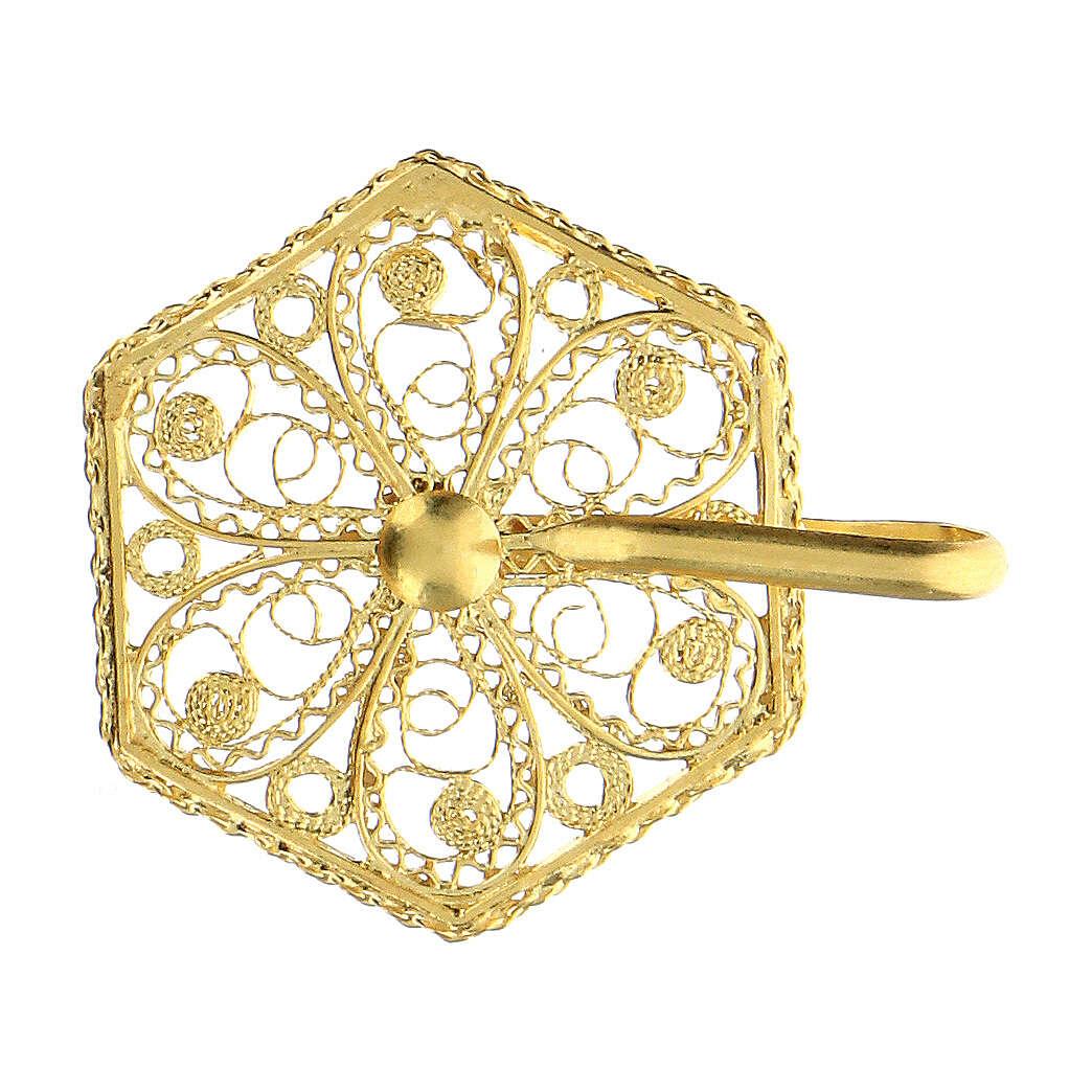 Cope clasp 800 golden silver filigree 6 cm 4