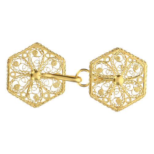 Cope clasp 800 golden silver filigree 6 cm 1