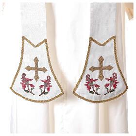 Estola sacerdotal crudo bordados florales y cruz dorada Limited Edition s2