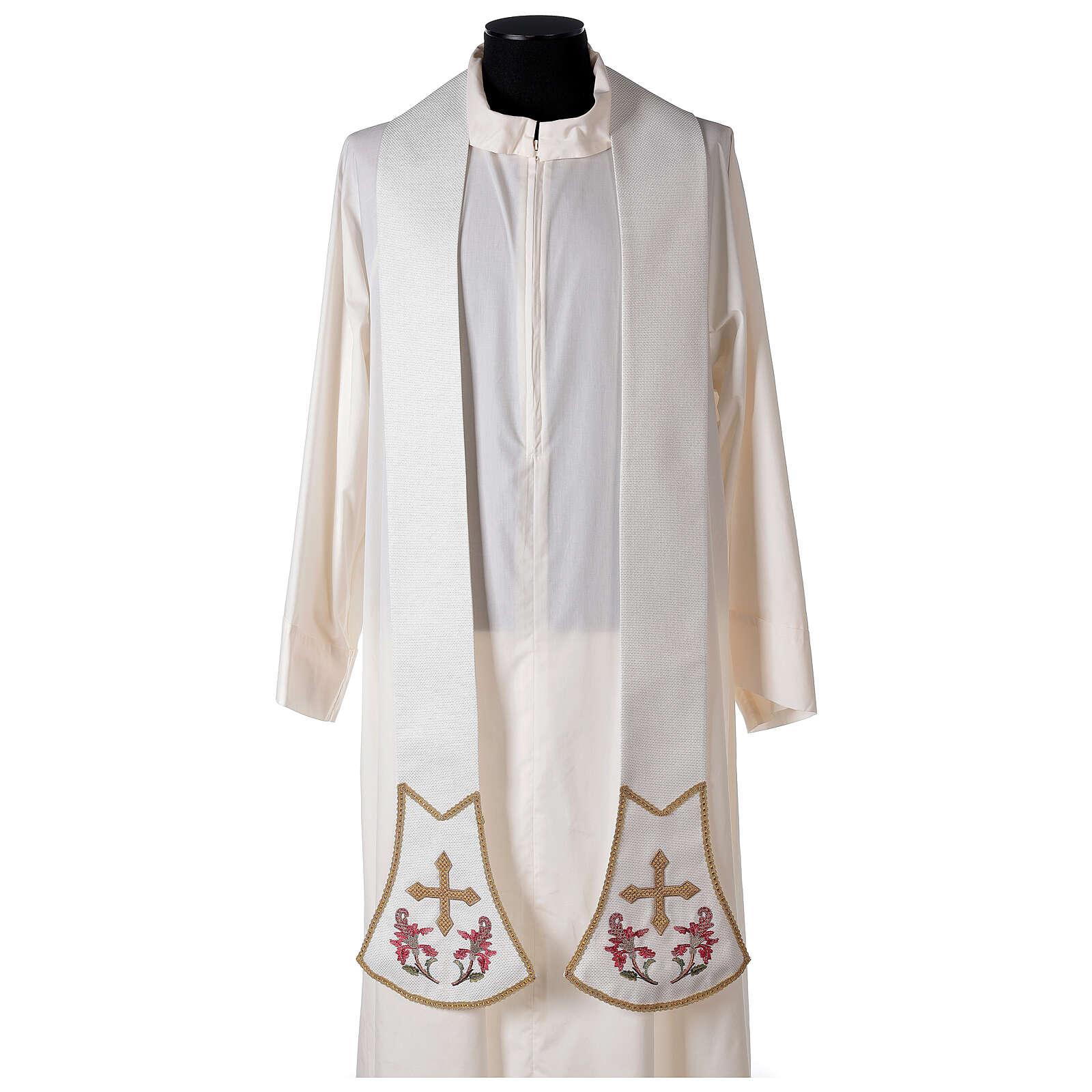 Étole pour prêtre écru broderie florale et croix dorée Édition Limitée 4