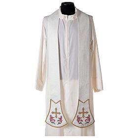 Étole pour prêtre écru broderie florale et croix dorée Édition Limitée s1