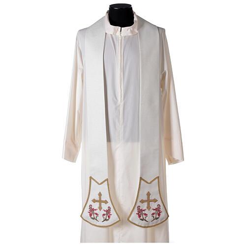 Étole pour prêtre écru broderie florale et croix dorée Édition Limitée 1