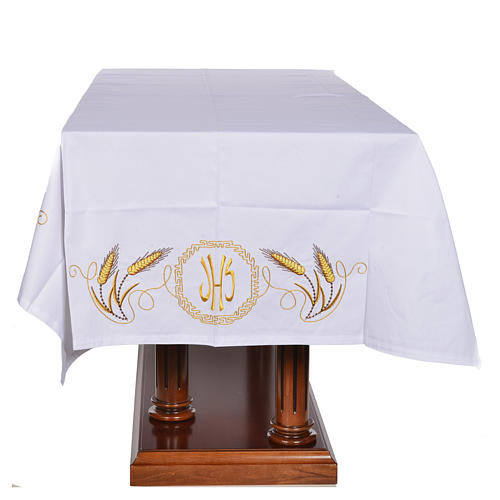 Mantel para mesa decoración dorada y IHS 4