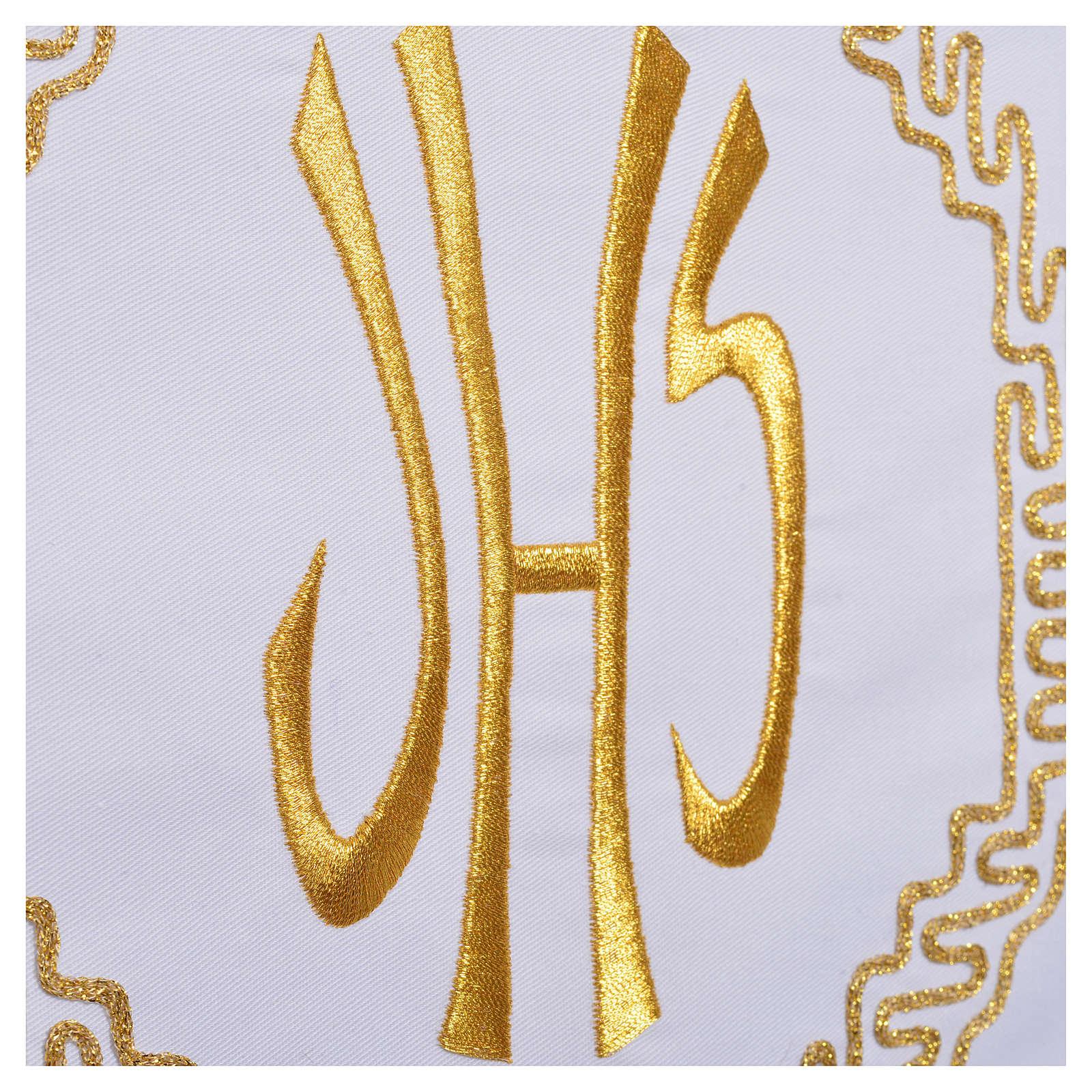 Tovaglia da mensa decoro dorato spighe e IHS 4