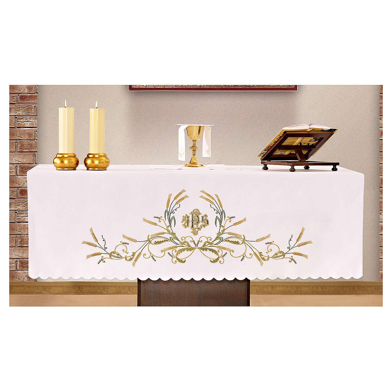 Mantel de altar 165x300 cm bordados verdes y oro y espigas 4